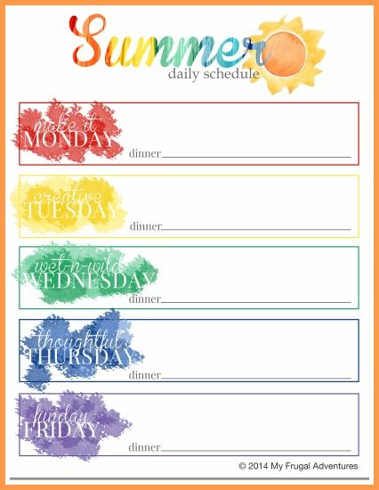 Summer Schedule for Children {Ideas, Projects + Free Printable - vacation schedule template