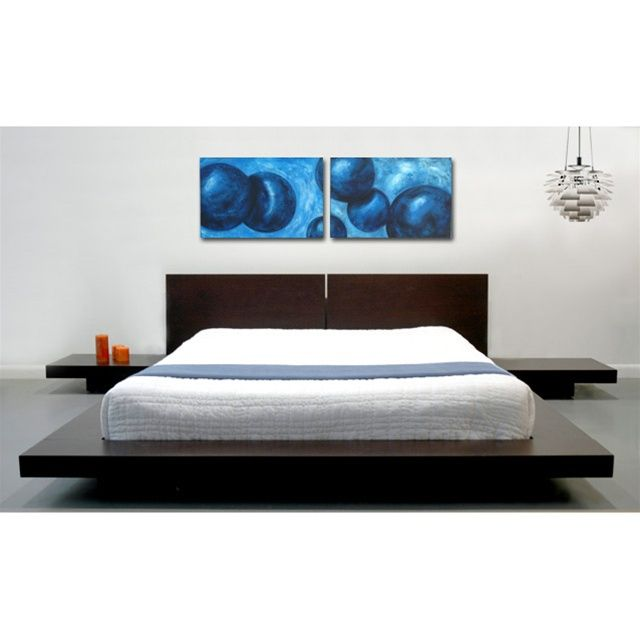 Stylish and modern, the Fujian Platform bed with two matching ...