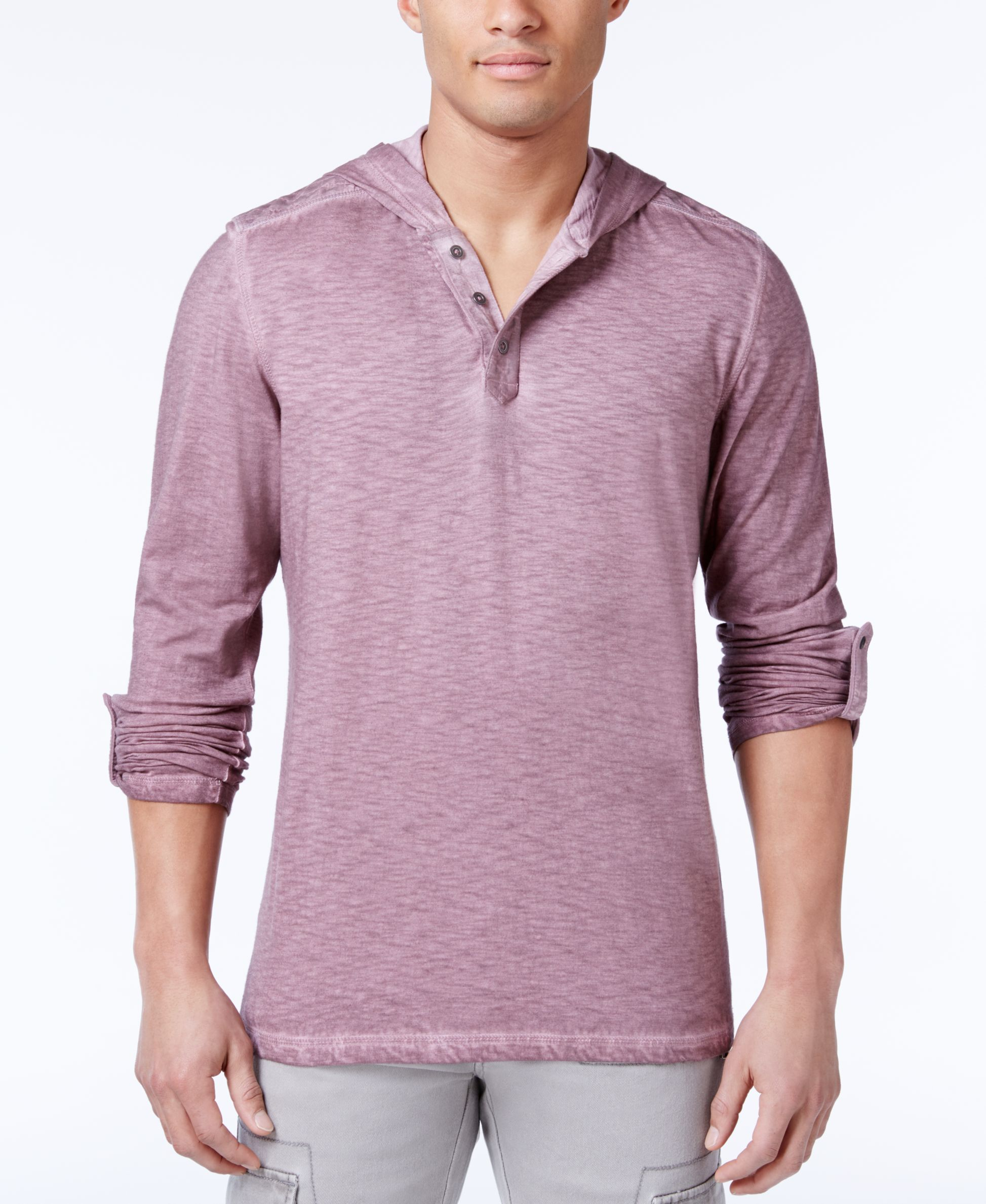 Inc International Concepts Men's Henley-Style Cotton Hoodie, Only at Macy's