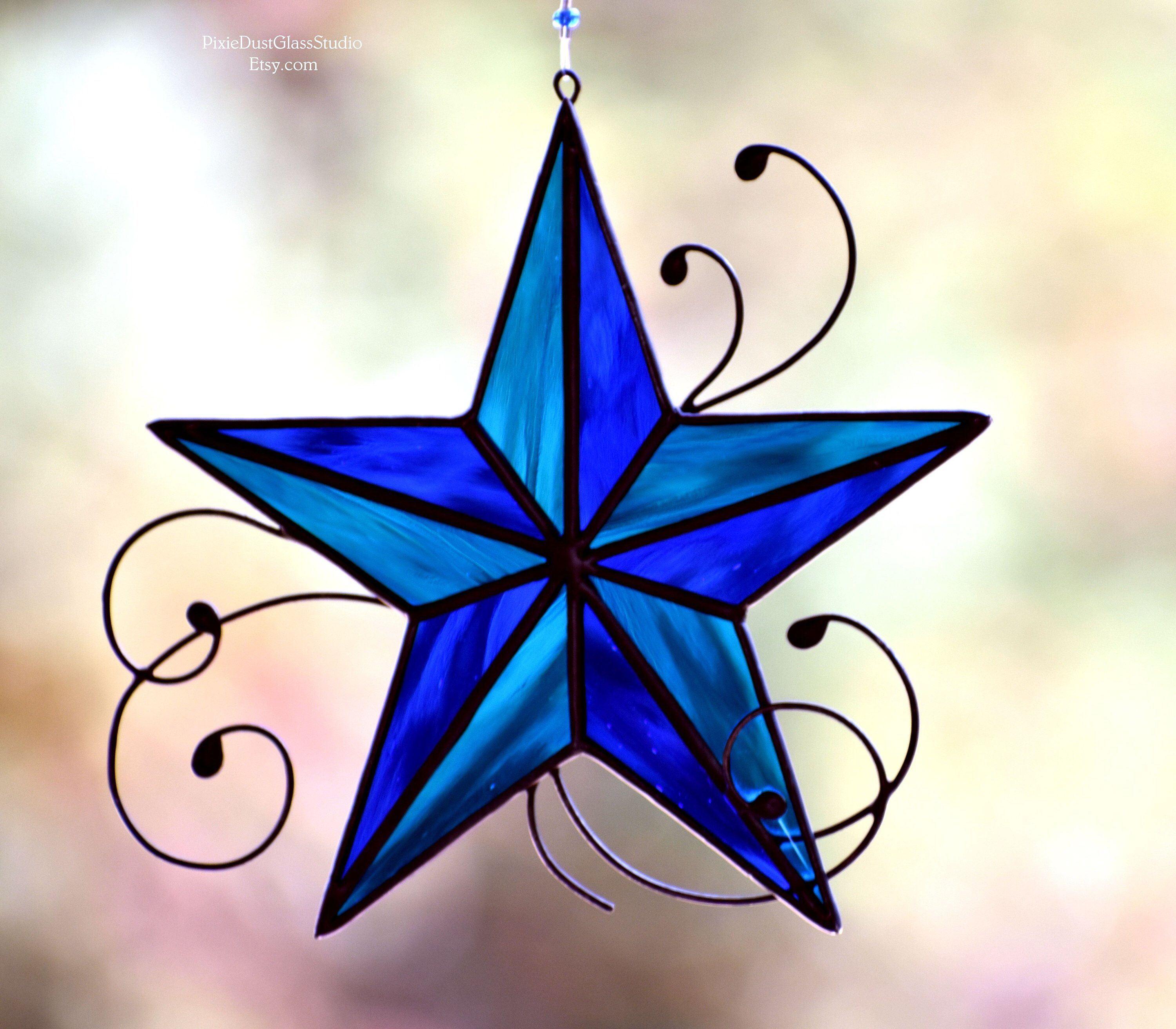 Nautical Star Stained Glass Nautical Star Suncatcher Five Point Star Stained Glass Star Coa Stained Glass Suncatchers Stained Glass Stained Glass Ornaments