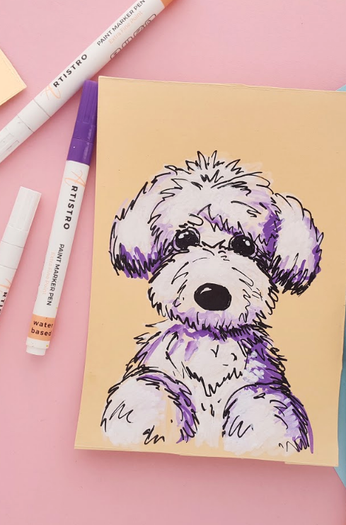 Drawing Ideas Dog Drawing Ideas With Artistro Paint Markers Markers Drawing Ideas Marker Drawing Easy Drawings