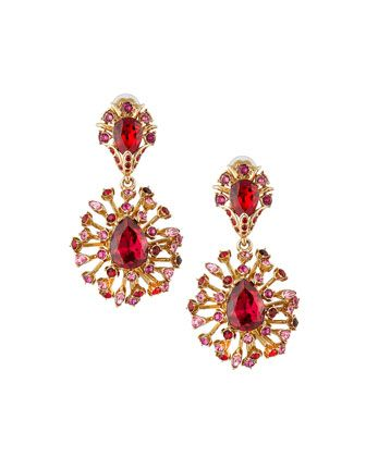 Tiered Crystal Clip On Drop Earrings Hot Pink