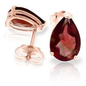 14K Solid Rose Gold Stud Earrings Natural Garnet - 1654-R
