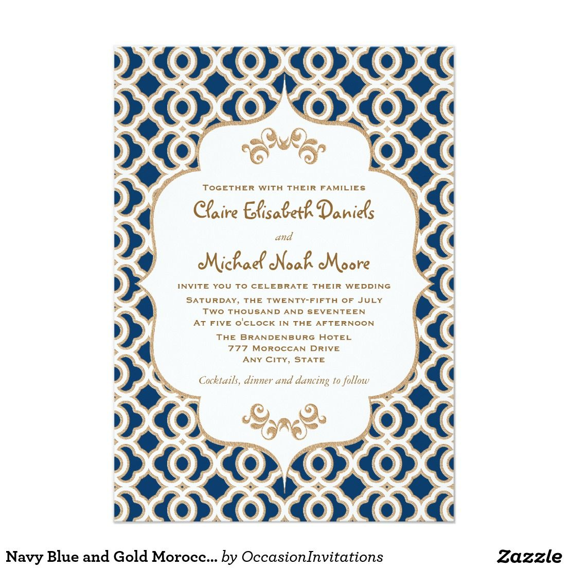 Navy Blue and Gold Moroccan Wedding Invitations | Moroccan wedding ...