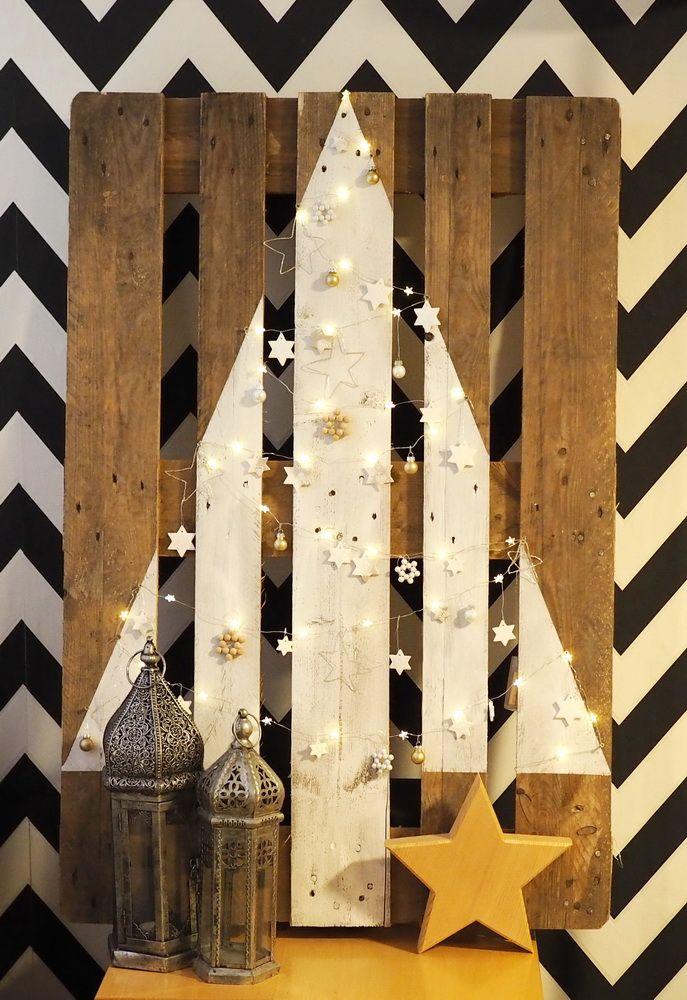 diy anleitung weihnachtsbaum aus holzpalette upycling. Black Bedroom Furniture Sets. Home Design Ideas