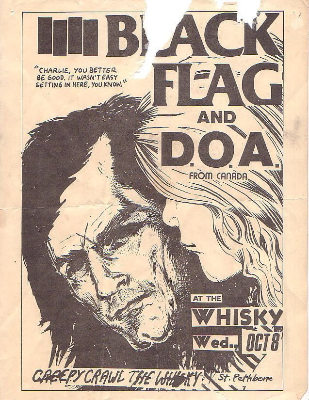 Black Flag-DOA at the Whiskey, flyer art by Raymond Pettibon.