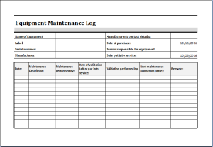 Equipment Maintenance Worksheet Download At HttpWwwDoxhubOrg