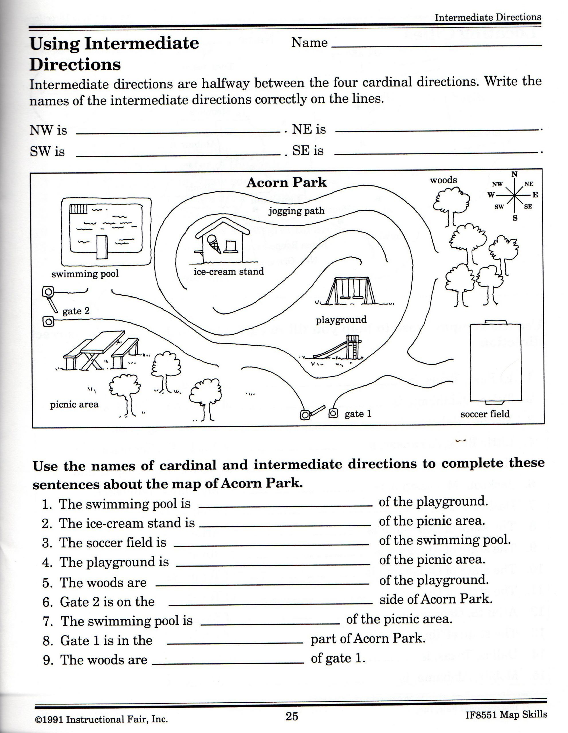 small resolution of 2 Following Directions Worksheets Grade 3 157 Best Follow Directions images    Map skills worksheets