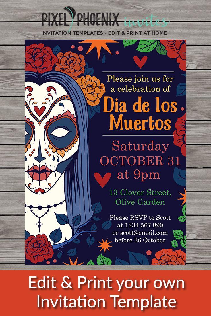 Halloween Party Invite Day Of The Dead Invite Halloween Invitation Halloween Printable Dia D Dia De Los Muertos Halloween Party Invitations Diy Invitations
