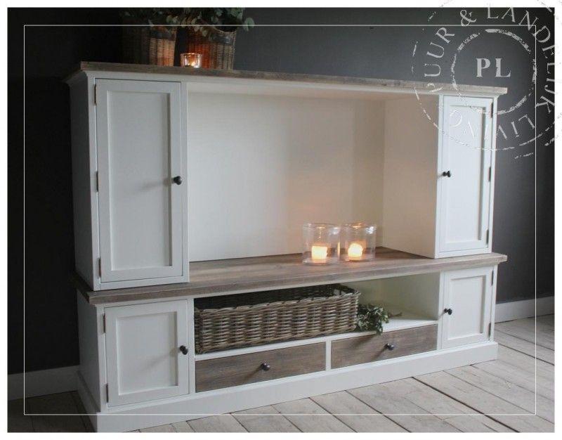maatwerk landelijk tv meubel flatscreen old wood pleasure