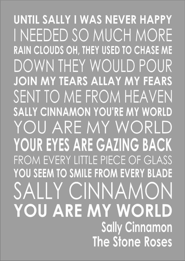 073241f6 The Stone Roses Sally Cinnamon Lyrics Lyric Word Wall Art Typography Words  Art