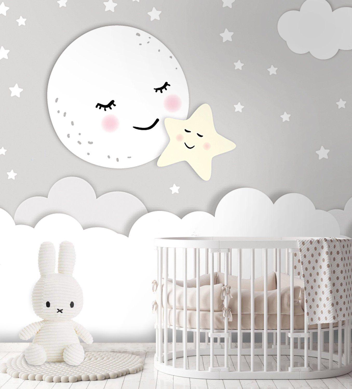Tapete, Fototapete, Kinderzimmer, Mond, Stern, Babyzimmer, Wolke, Sterne, Glattvlies, Wunschfarbe, Motivtapete
