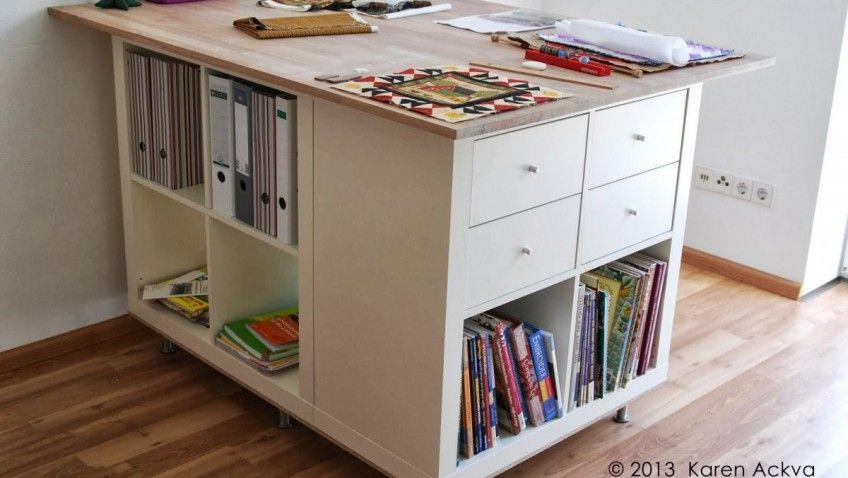 Une table de couture sur mesure avec KALLAX Tables de couture - meuble de rangement avec tiroir