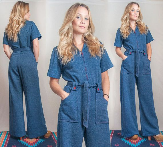 1bdf28a3b4b3 70s Denim Bell Bottom Jumpsuit