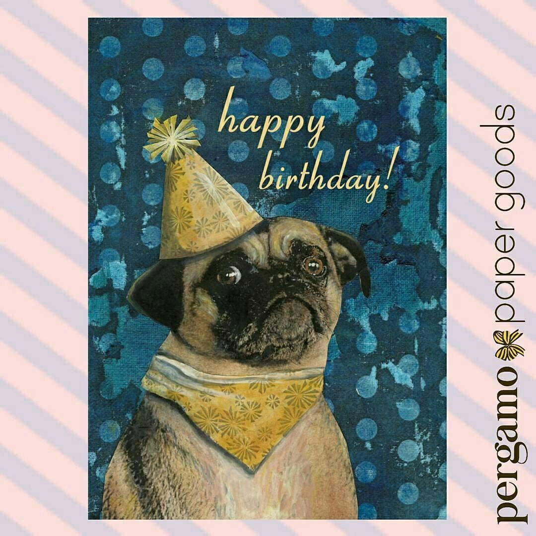 Pug Birthday Card Happy Birthday Retro Collage Greeting Card