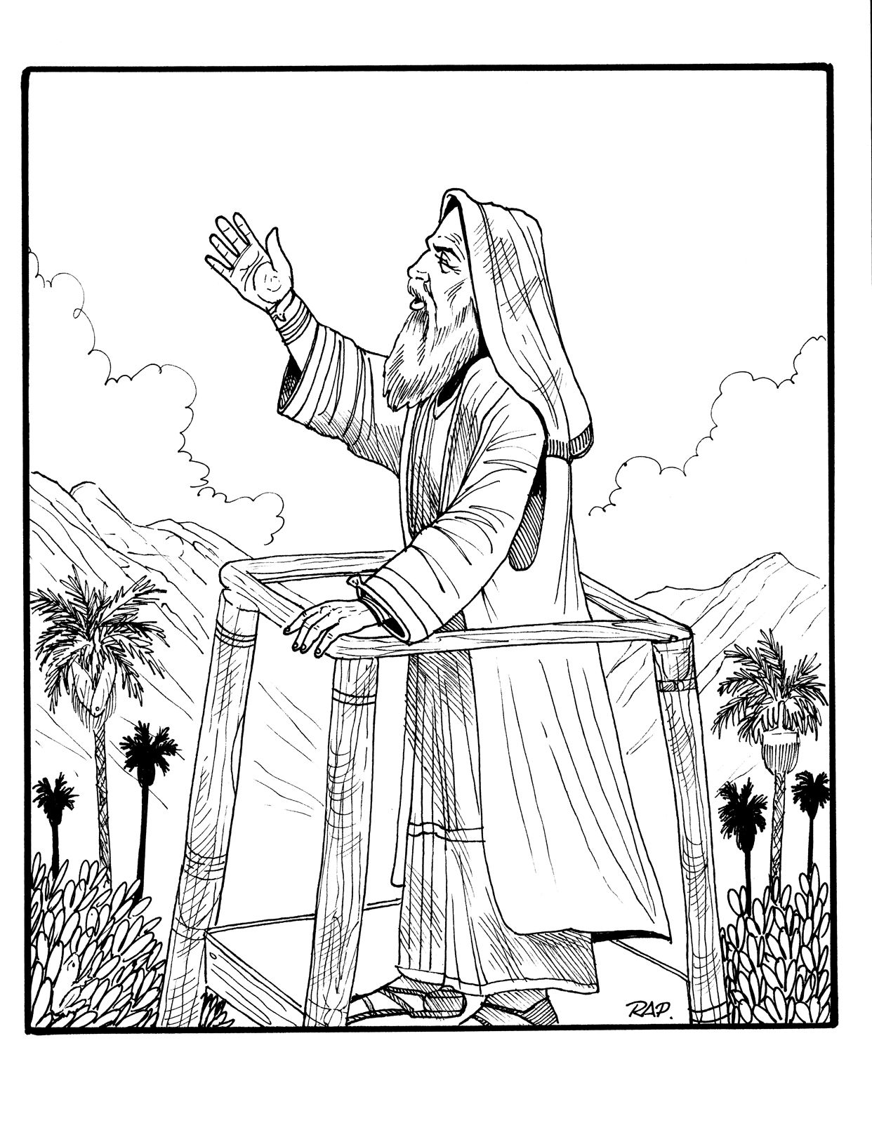 King Benjamin gives his sermon from the tower. #ldsprimary  http://www.lds.org/media-library/images/primary/line-art