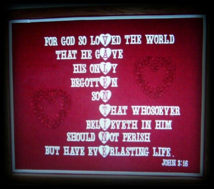 Valentines Day John 3 16 Church Bulletin Board Christian