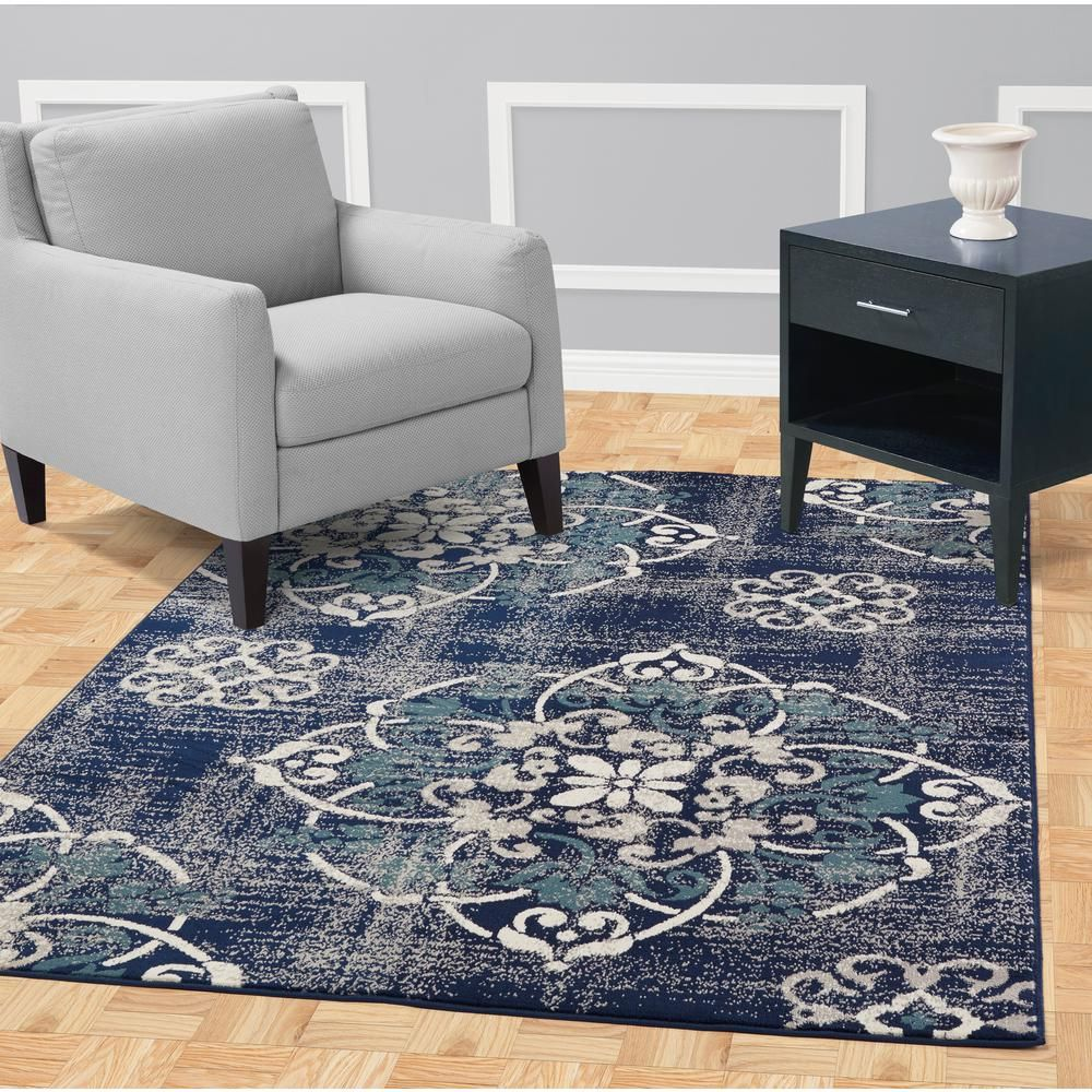 Jasmin Collection Contemporary Medallion Design Navy And Ivory 8 Ft X 10 Ft Area Rug Rug Design Rugs In Living Room Trellis Design