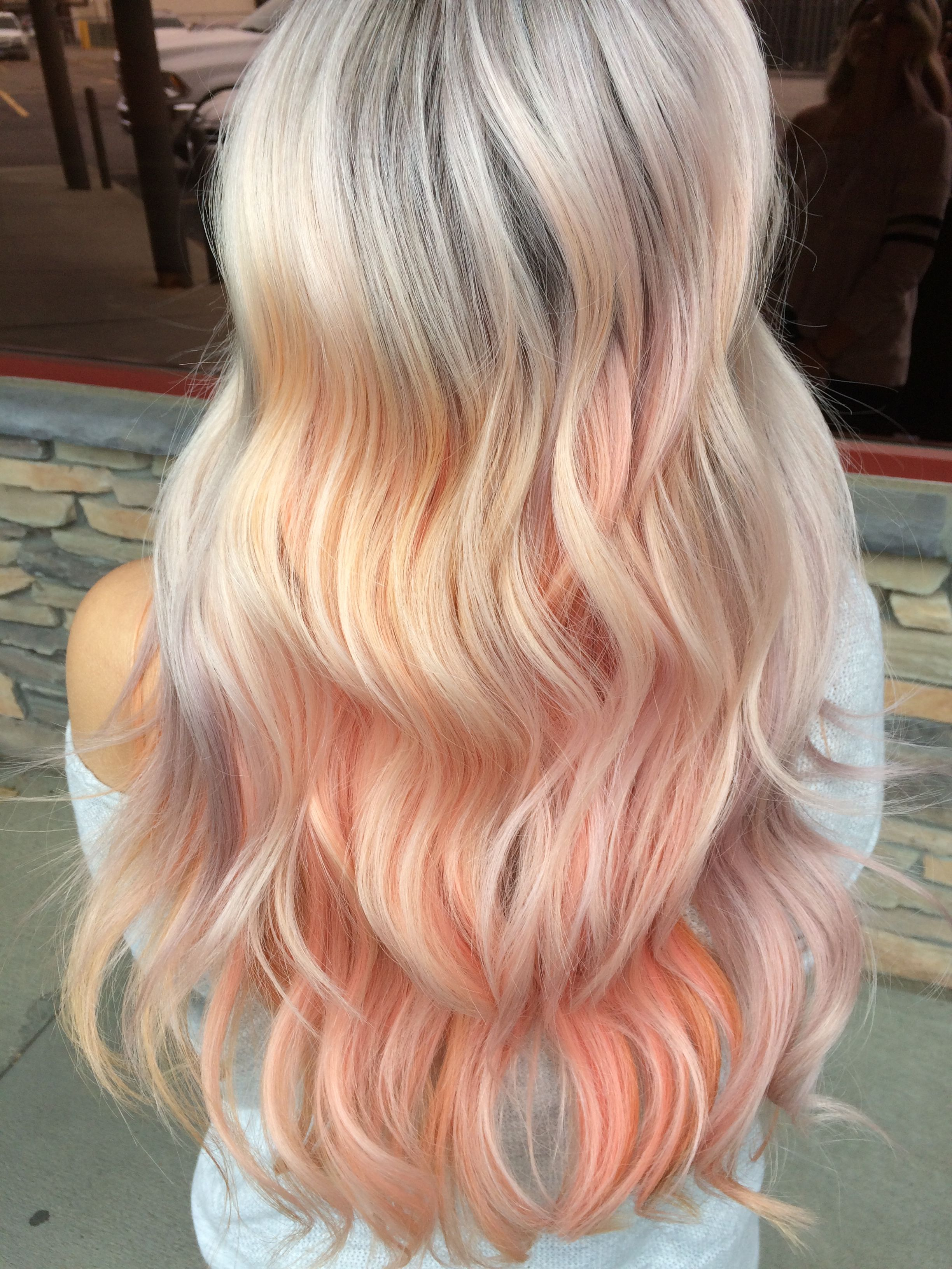 Pastel Hair Silver Roots Into Peach Baby Pink And Lavendar