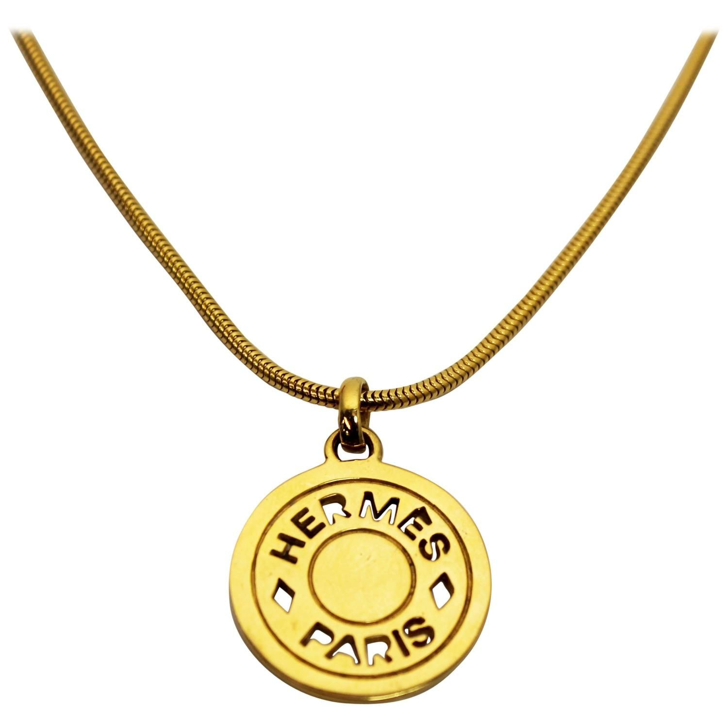 1990 S Hermes Gold Coin Pendant Necklace 1stdibs Com Coin Pendant Necklace Necklace Coin Pendant