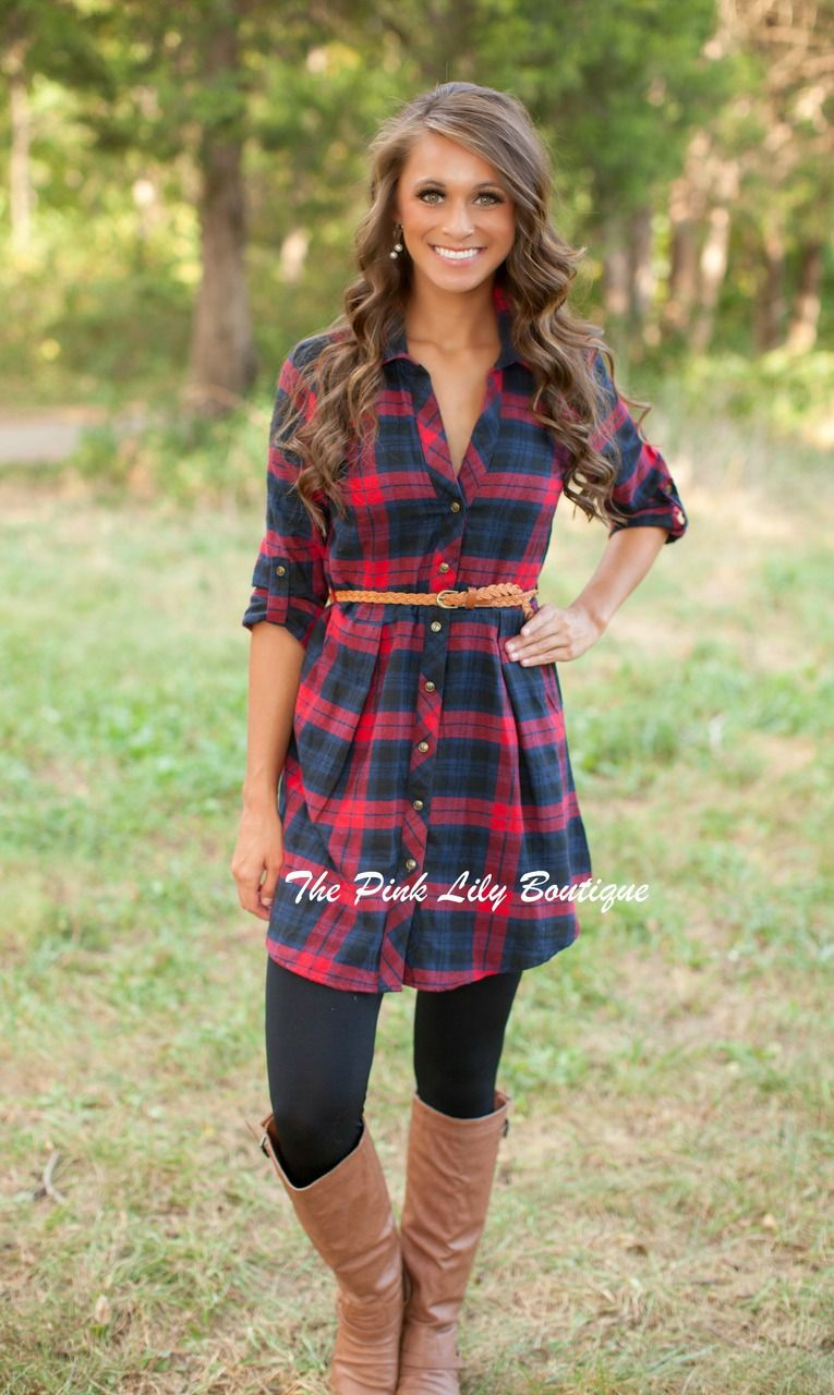 Flannel shirt outfits for women  The Pink Lily Boutique  Heat Of The Moment Dress Red and Navy