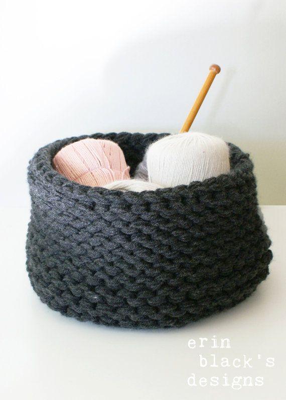 Diy Knitting Pattern Chunky Knit Baskets 2014025 Chunky Knit