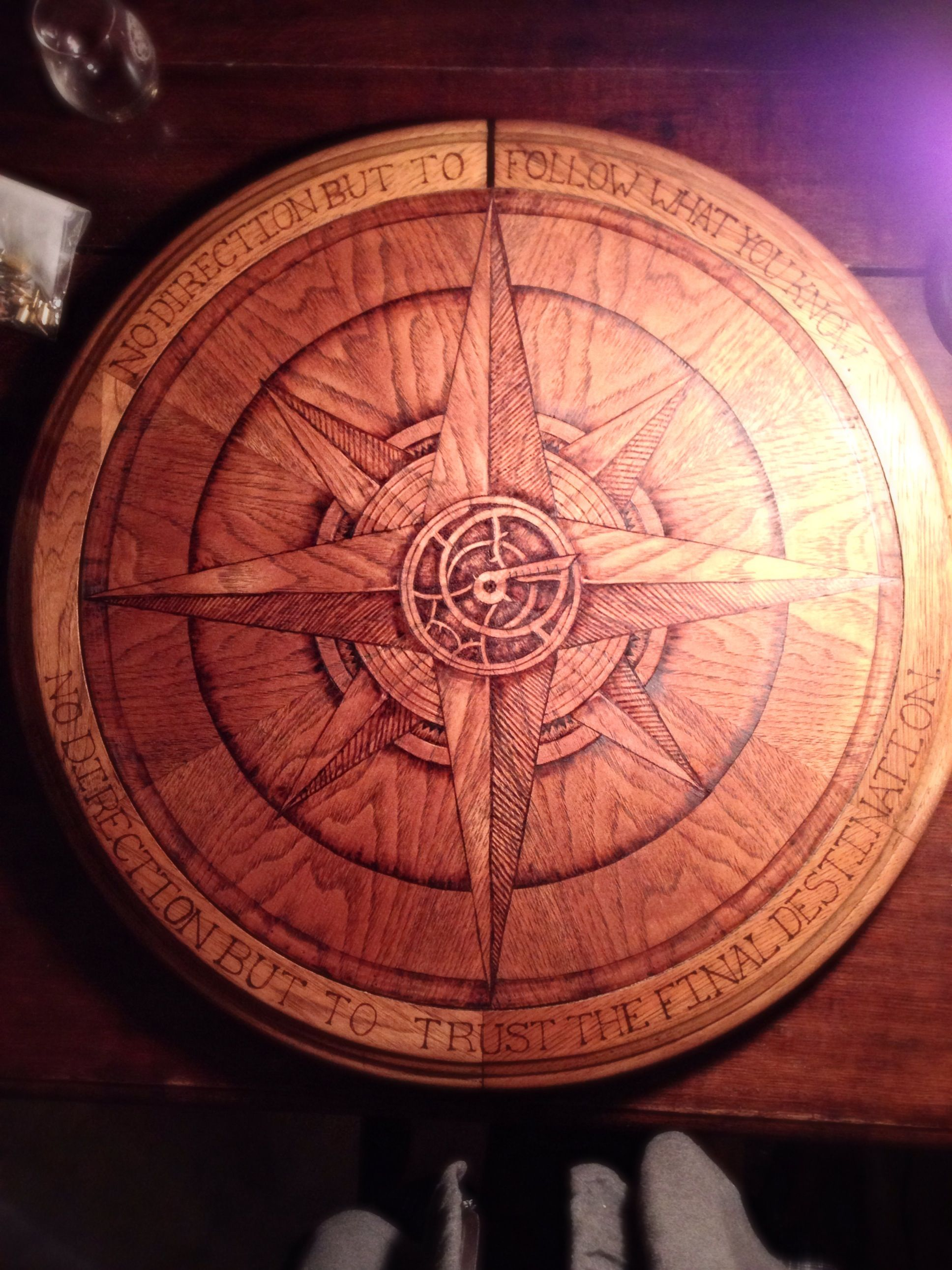 Tabletop pyrography compass rose with puscifer quote wood burning art wood burning patterns