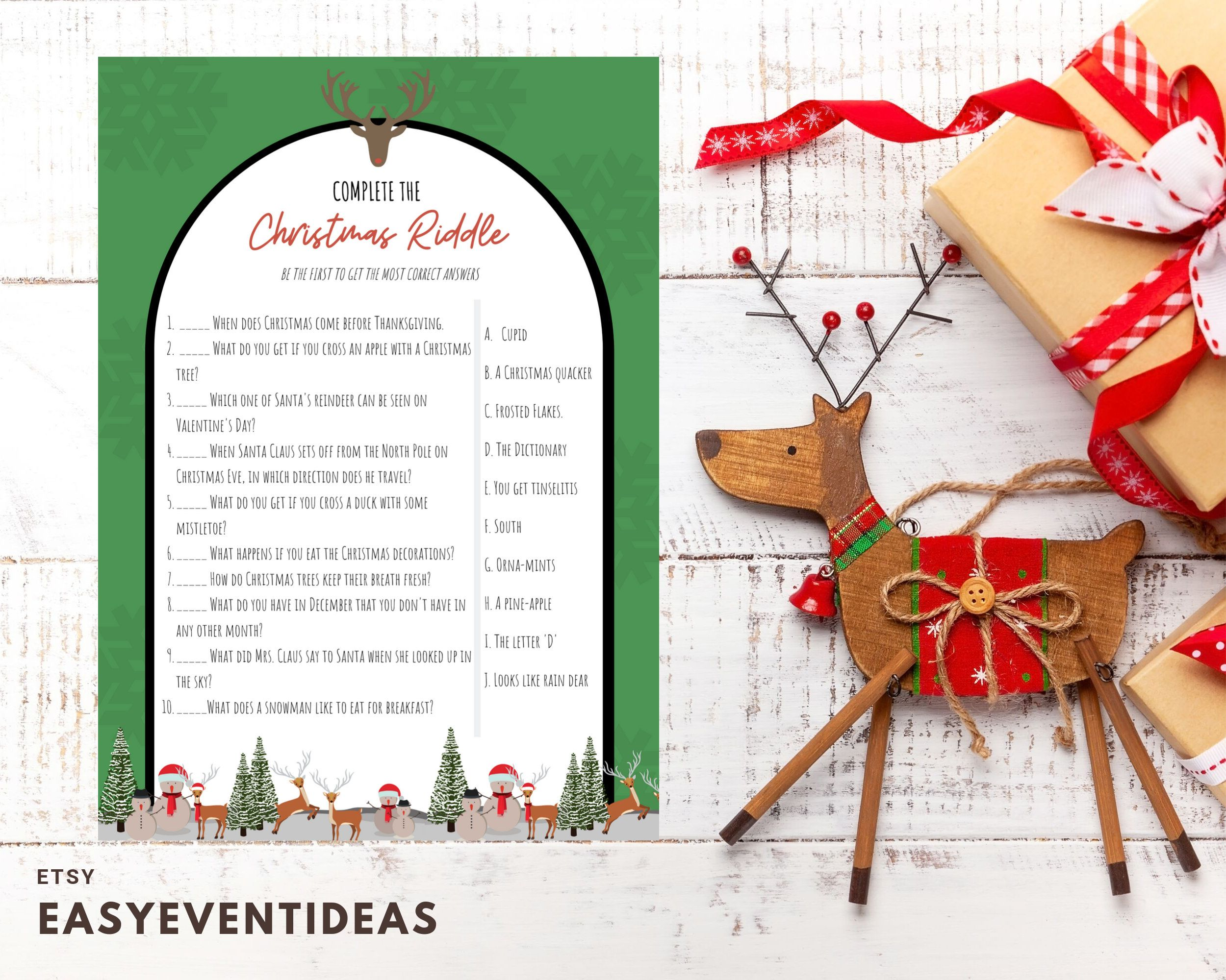Christmas Riddle Game Printable Download Christmas