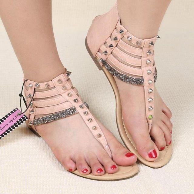 Women Sandals Bohemia Ankle-Strap Flops Summer Flat Shoes Woman Shoes 36-41