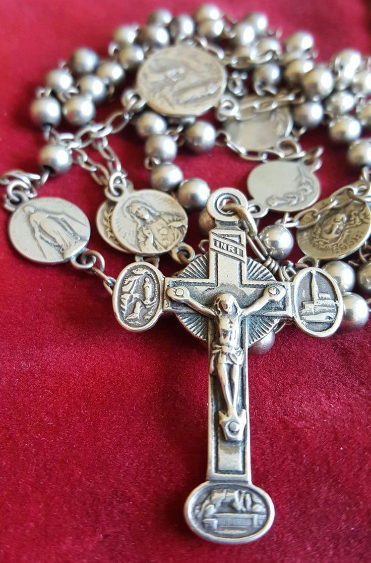 Vierge Marie rosary Chapelet Jésus Crucifix Cross Sterling Silver Bracelet