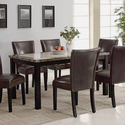 Straight Block Legs And Clean Straight Edges.  Rectangular Shape.  Faux Marble  Table Top.  Solid Wood Veneer Construction.  Dark Brown Finish.