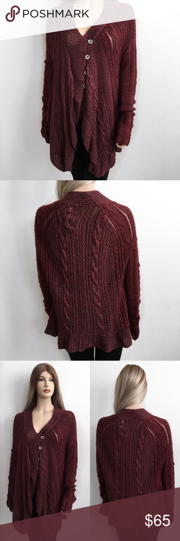 Free People Knitted Cardigan🍂❤️ Free People Knitted Cardigan🍂❤️ Size: S Condition: Used  The perfect fall/winter cardigan.Worn once for last years thanksgiving, color is a burgundy/auburn, has no stains and no tears. All buttons are in tact. It's very soft and unique this can also fit a size medium. Pair it with leggings and boots🍃🍂 I purchased this from Nordstorm for $165+ tax.   In Bin: BA **All items from my closet come from a SMOKE FREE home**🙅🏽😊 Free People Jackets & Coats