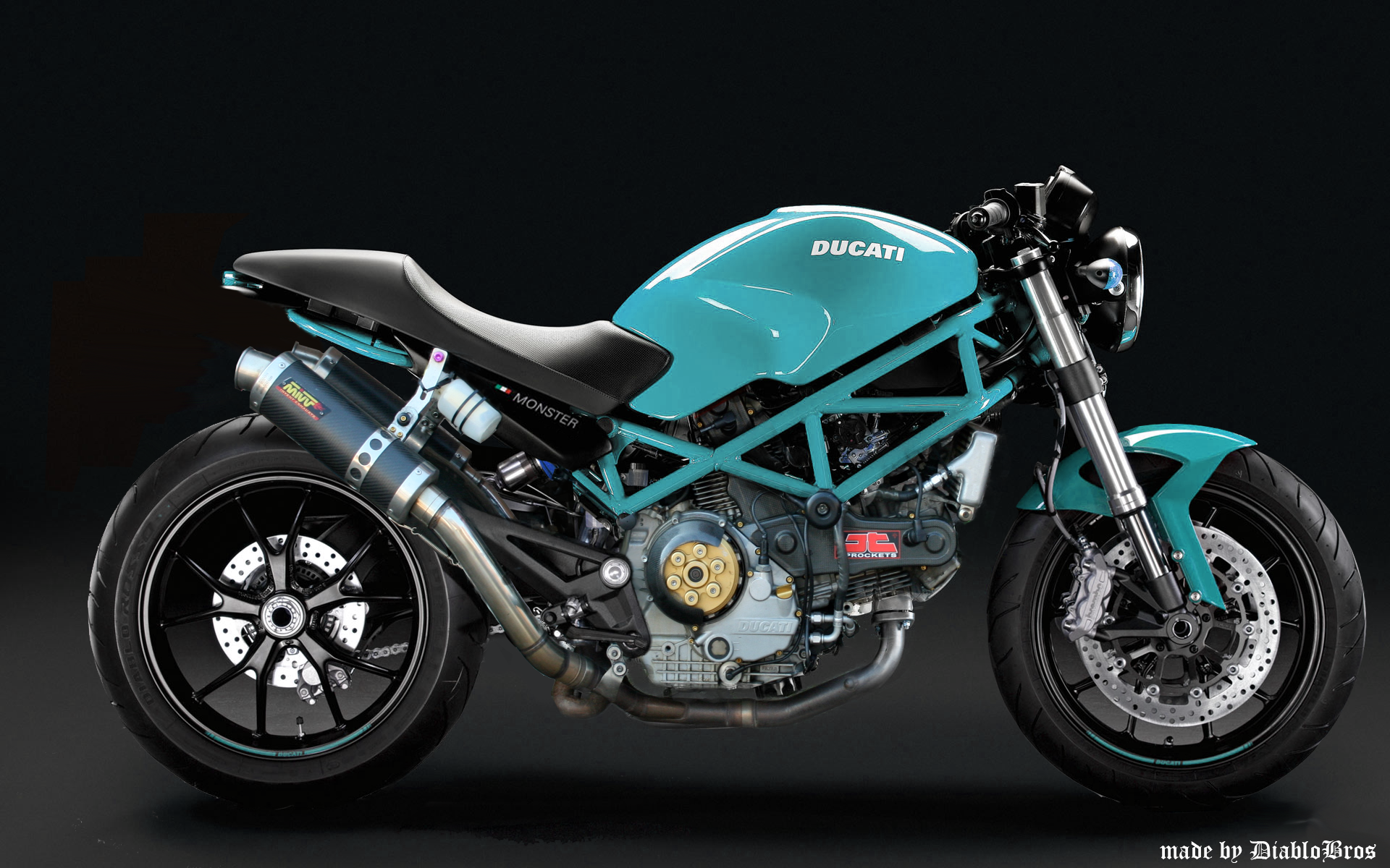 my proto ducati monster 695 tune by DiabloBros turquoise | ducati