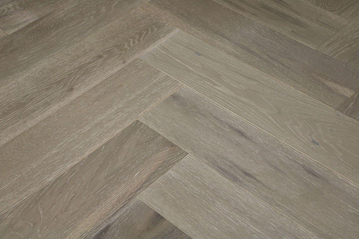 Natura Oak Clay Grey Herringbone Engineered Parquet