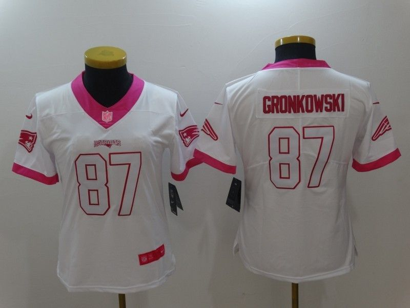 new arrival 1e240 ee147 Women's New England Patriots 87 Rob Gronkowski White Rugby ...