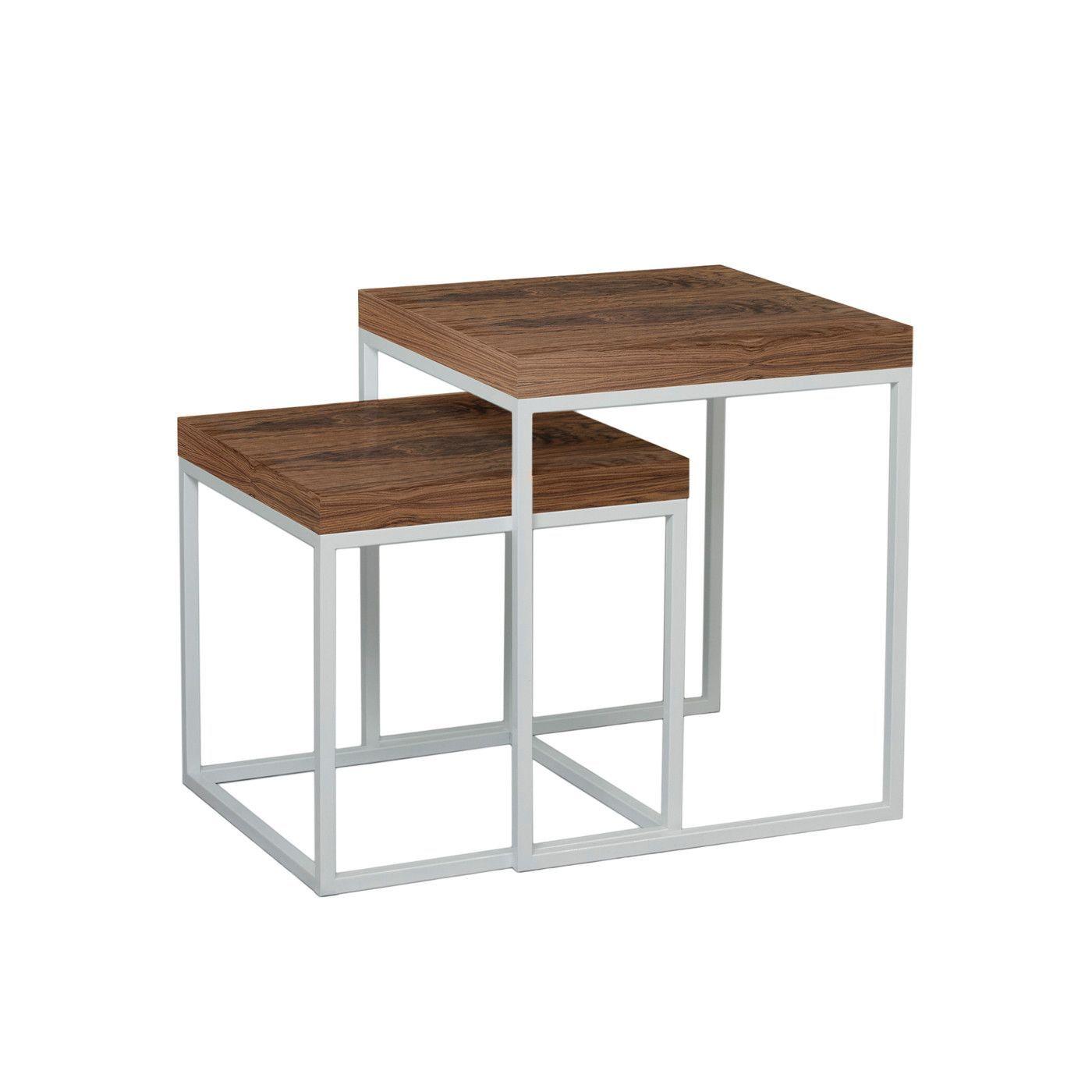 Prairie Nesting Tables Walnut Tops / Chrome Legs
