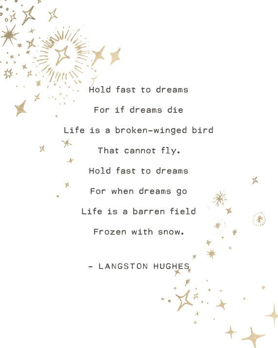 Hold Fast To Dream For If Die Life I A Broken Winged Bird That Cannot Fly Dre Quote Langston Hughe Poetry Quotes Paraphrase Of The Poem Mirror By Sylvia Plath