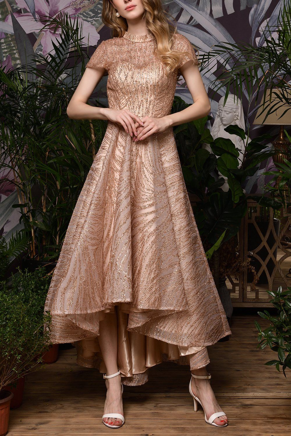 Rose Gold Sequined Prom Party Dress With Sleeves In 2021 Evening Gowns With Sleeves Tea Length Prom Dress Party Dresses With Sleeves [ 1500 x 1000 Pixel ]