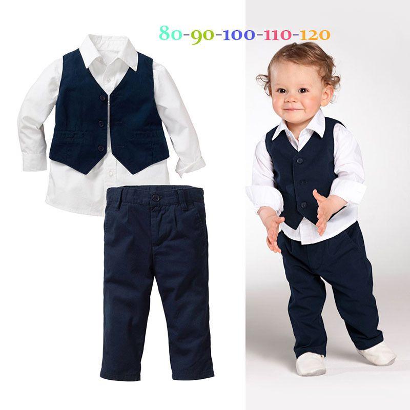 bdfb26a4a 3PC Baby Kids Boys Shirt Tops+Pants+Waistcoat Gentleman Suit Party ...