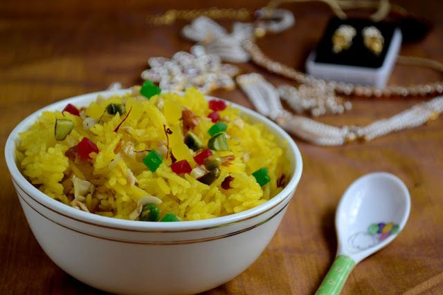 Zarda - Kashmiri Sweet Saffron Rice | Vegetarian rice ...