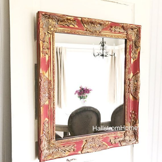 Red Shabby Chic Mirror with Gold | Shabby chic bathrooms | Pinterest ...
