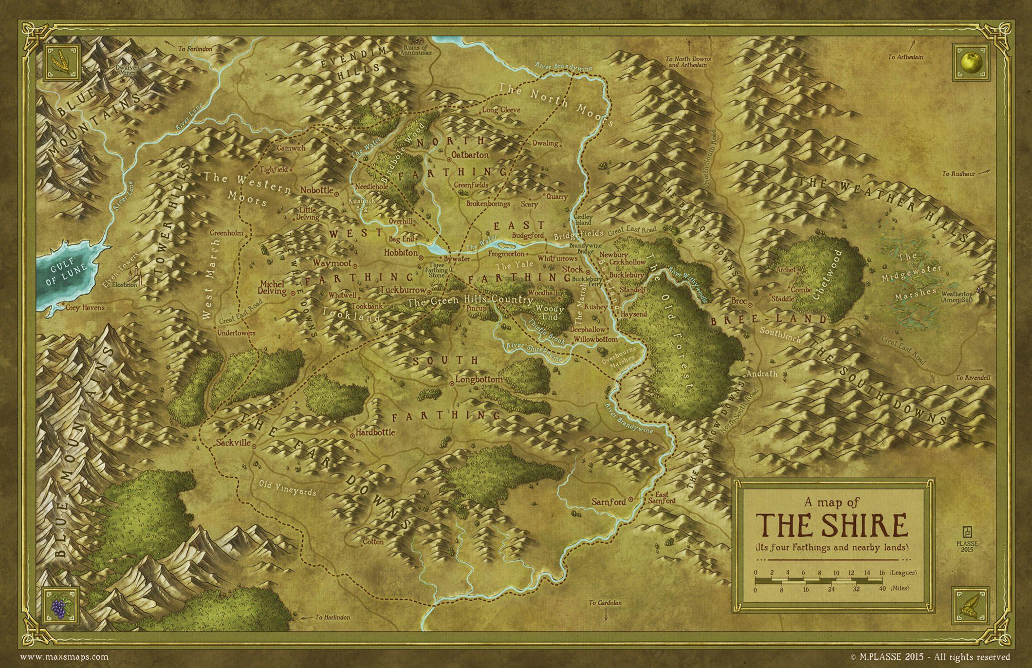 La Comarca Mapa De La Tierra Media Tierra Media Mapa De Fantasía