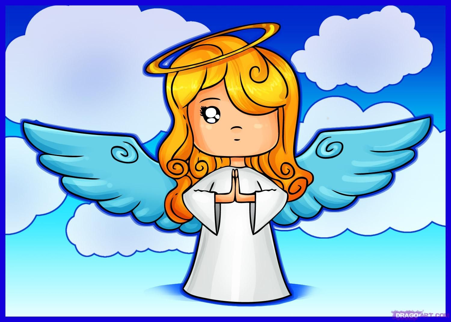 christmas cartoons how to draw a cartoon angel step by step