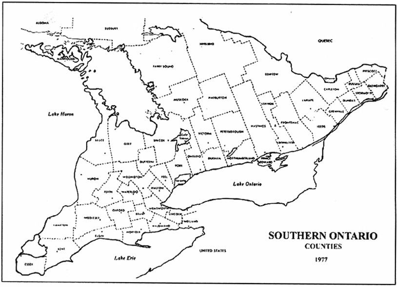 Map Of Ontario Canada Counties