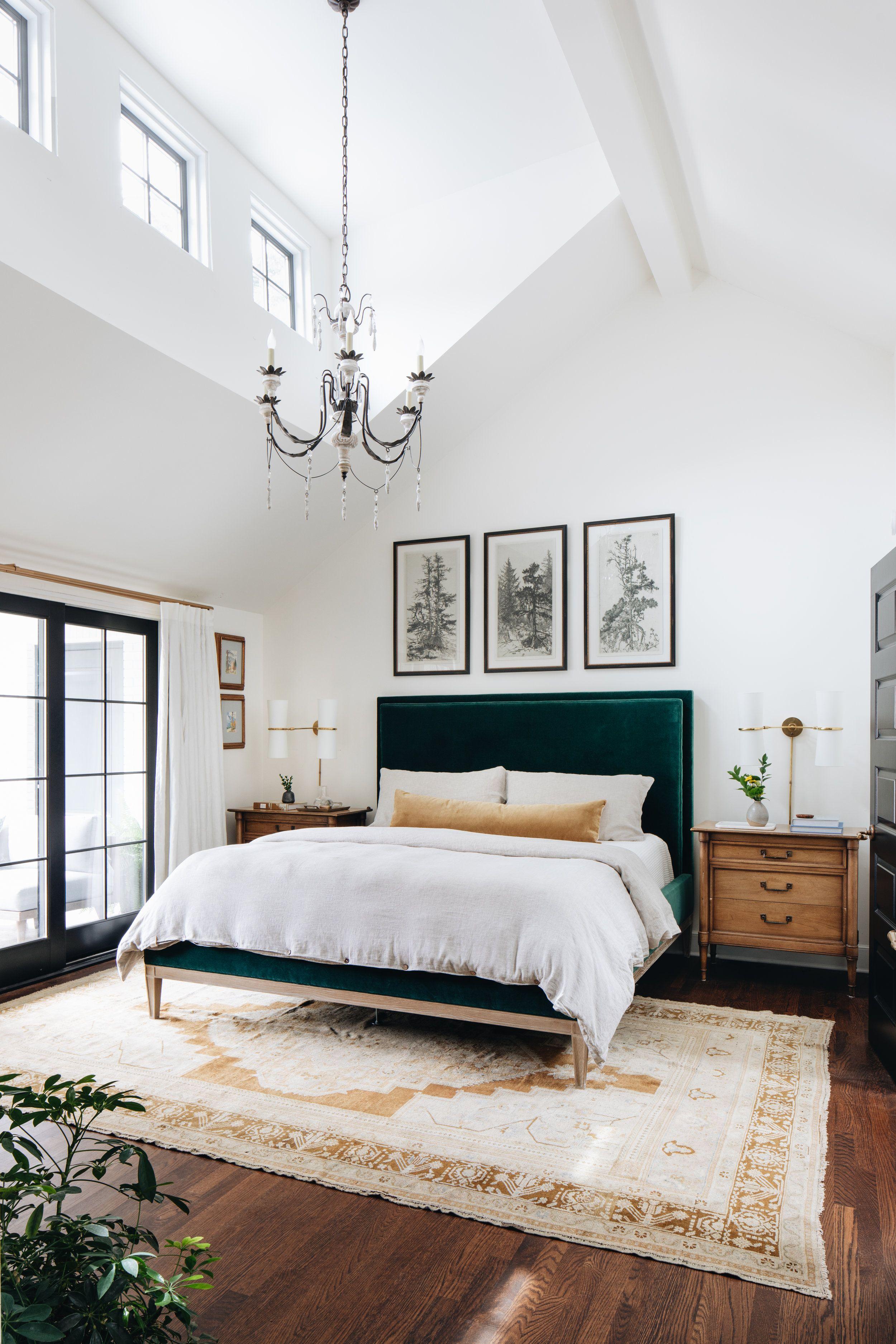 Bedroom Bedroom Design Vaulted Ceilings White Walls Green