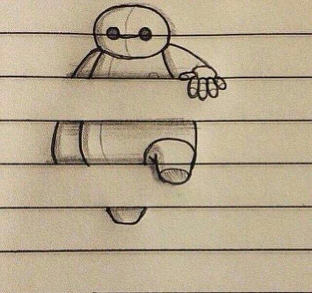 Drawing Ideas With Lines: Lined Paper Art, Big Hero 6