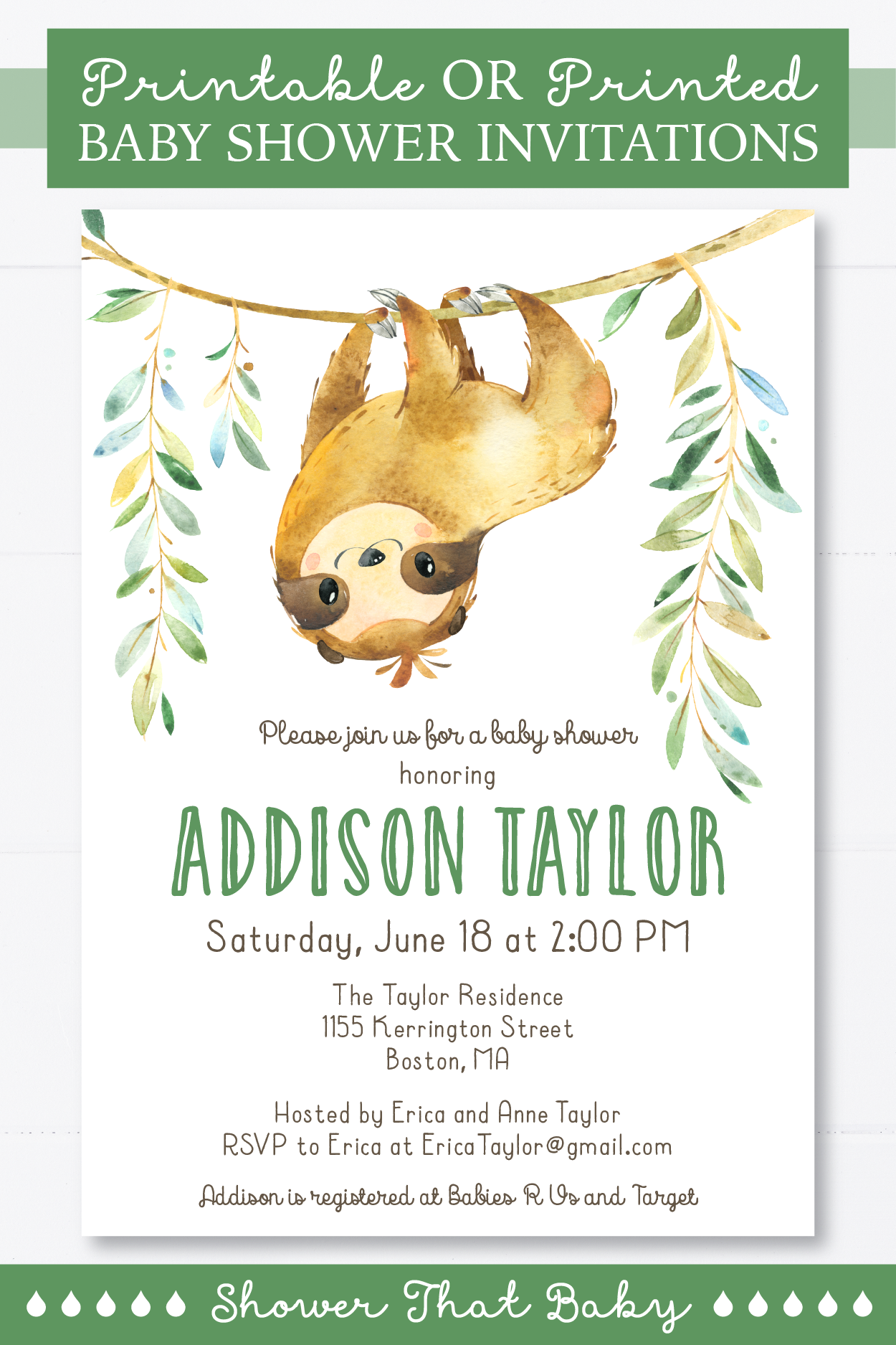 Sloth Baby Shower Invitation Printable Or Printed Sloth Themed Baby Shower Invites Boy Girl Gender Neutral Invite Green Brown 0076 Baby Shower Invitations Printed Baby Shower Printable Baby Shower Invitations