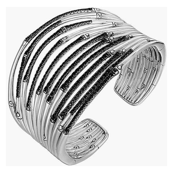 Women's John Hardy 'Bamboo - Lava' Wide Pave Sapphire Flex Cuff (186.550 RUB) ❤ liked on Polyvore featuring jewelry, bracelets, pave bangle, cuff jewelry, bamboo bangles, john hardy jewelry and john hardy bangles