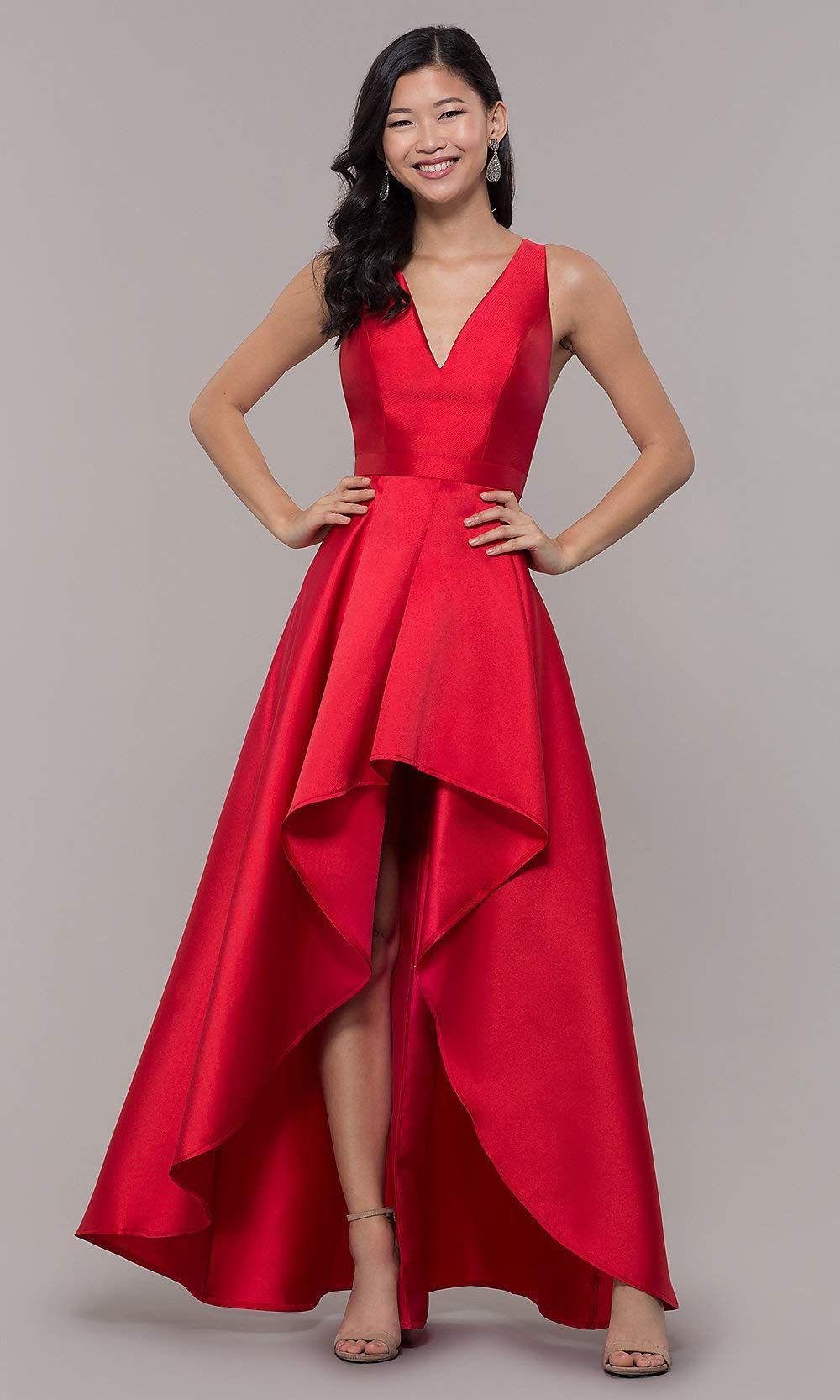 175be5993cfa KKarine Women's A-Line V Neck Sleeveless High Low Satin Prom Dresses Long  Formal Evening Gown