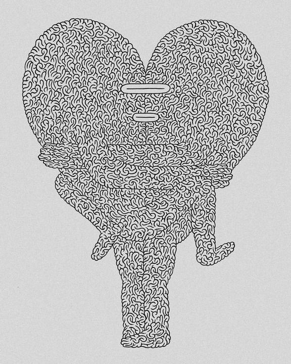 """Heart Hug"" 8"" x 10"" ink on paper, Luke Ramsey, 2008"